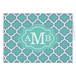 Elegant Teal Quatrefoil Pattern Custom Monogram Card