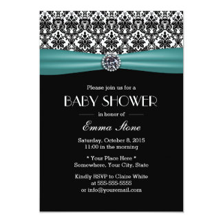 Elegant Teal Ribbon Damask Baby Shower 13 Cm X 18 Cm Invitation Card