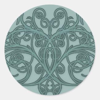 Elegant Teal Symmetrical Swirls Round Sticker