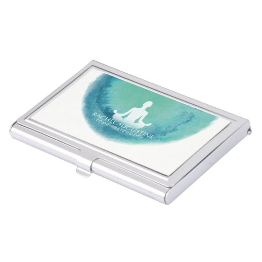 Elegant Teal Watercolor Yoga Meditation Instructor Business Card Holders