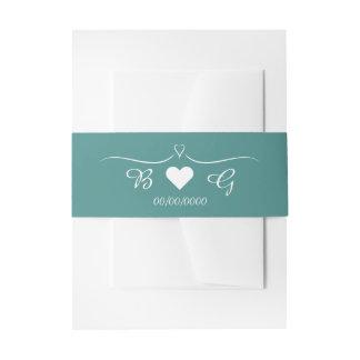 Elegant Teal Wedding Heart Monogram Belly Band Invitation Belly Band