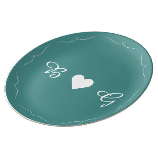 Elegant Teal Wedding Heart Monogram Plate Porcelain Plates