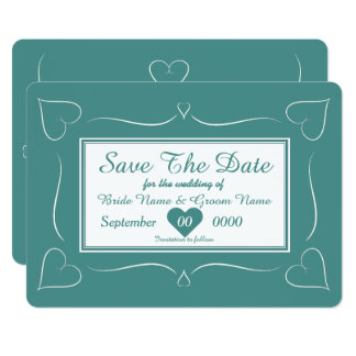 Elegant Teal Wedding Heart Monogram Save The Date Card