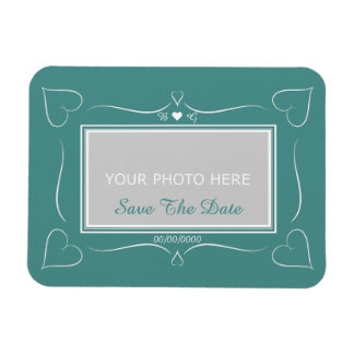 Elegant Teal Wedding Heart Monogram Save The Date Rectangular Photo Magnet