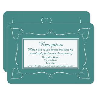 Elegant Teal Wedding Heart Reception Card