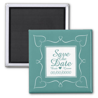 Elegant Teal Wedding Heart Save The Date Magnet