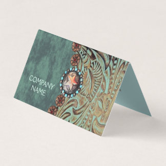 elegant teal western country tooled leather card