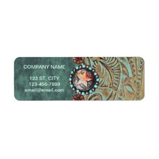elegant teal western country tooled leather return address label