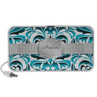 Elegant Teal & White Damask Name Portable Speaker