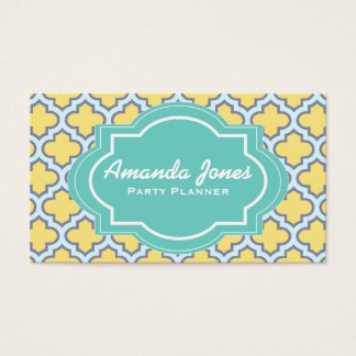 Elegant Teal Yellow Quatrefoil Party Planner Business Card