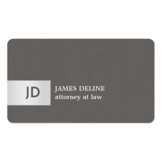 Elegant Texture Grey Silver Monogram Attorney Pack Of Standard Business Cards