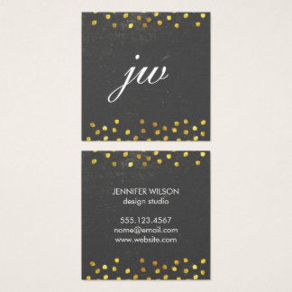 Elegant texture with golden spots monogram square business card
