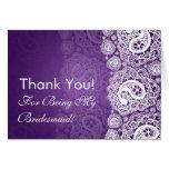Elegant Thank You Bridesmaid Paisley Lace Purple