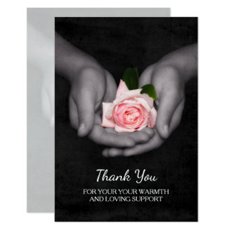 Elegant Thank You For Support Pink Rose in Hands Card