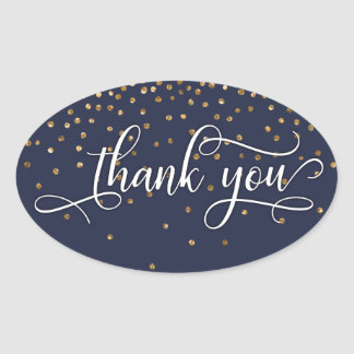 Elegant Thank You, Gold Confetti on Midnight Blue Oval Sticker