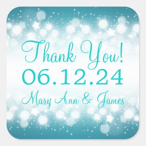 Elegant Thank you Magic Sparkle Turquoise Square Stickers