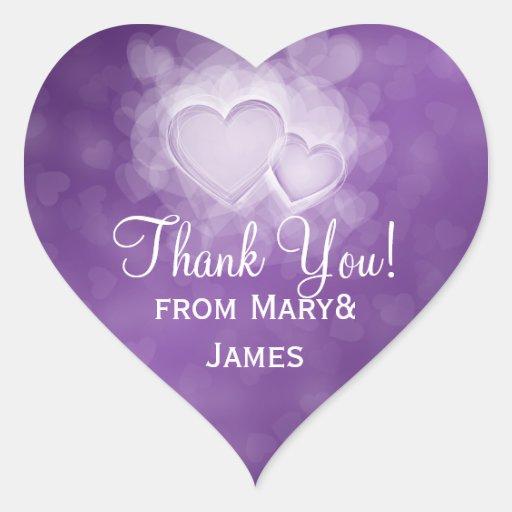Elegant  Thank you Modern Hearts Purple Heart Stickers