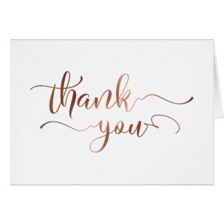 Elegant Thank You w/ Faux Copper Foil Script Card