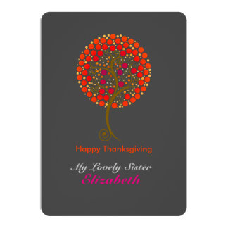 Elegant thankful tree Thanksgiving 13 Cm X 18 Cm Invitation Card