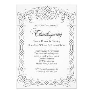 Elegant Thanksgiving Dinner Calligraphy Border Personalized Invitations