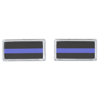 Elegant  'THIN BLUE LINE' cufflinks Silver Finish Cuff Links