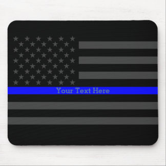 Elegant Thin Blue Line Personalized Black US Flag Mouse Pad
