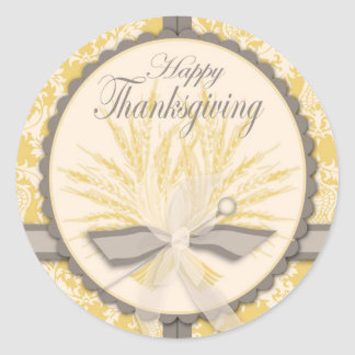 Elegant Thistle and Wheat Thanksgiving Classic Round Sticker