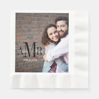 Elegant Three Initials Photo Wedding Paper Napkins Disposable Serviette