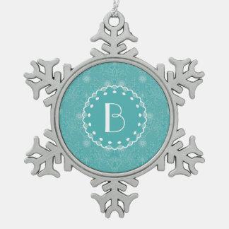 Elegant Tiffany Damask Pattern with Monogram Snowflake Pewter Christmas Ornament