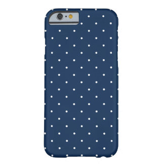 elegant tiny navy blue white polka dots pattern barely there iPhone 6 case