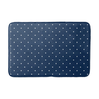 elegant tiny navy blue white polka dots pattern bath mat