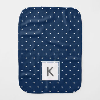 elegant tiny navy blue white polka dots pattern burp cloths
