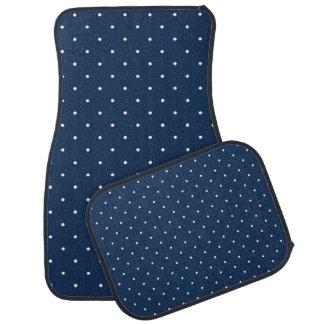 elegant tiny navy blue white polka dots pattern car mat