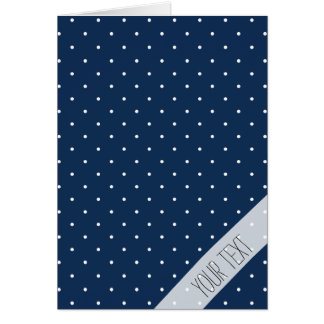 elegant tiny navy blue white polka dots pattern card