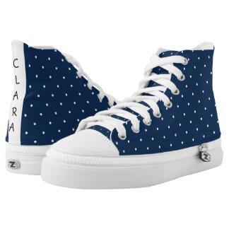 elegant tiny navy blue white polka dots pattern high tops