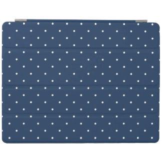 elegant tiny navy blue white polka dots pattern iPad cover
