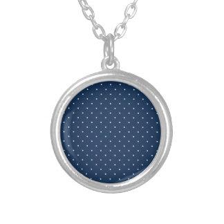 elegant tiny navy blue white polka dots pattern silver plated necklace