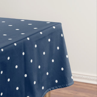elegant tiny navy blue white polka dots pattern tablecloth