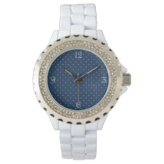 elegant tiny navy blue white polka dots pattern watches