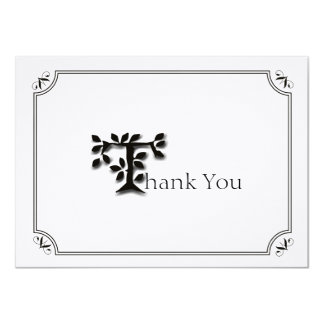 Elegant Tree and Leaf Personalized Thank You Note 4.5x6.25 Paper Invitation Card