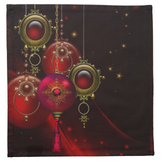 Elegant Tree Ornament Red Gold Christmas Napkins