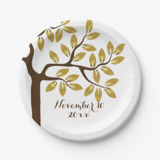 Elegant tree with gold foil leaves modern wedding paper plate