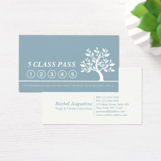 Elegant Tree Yoga Instructor Class Pass Loyalty Business Card