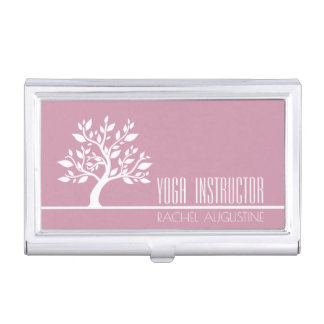 Elegant Tree Yoga Instructor Wellness Life Coach Business Card Holder