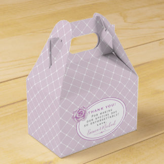 Elegant Trellis Pattern Lavender Thank You Wedding Favour Box