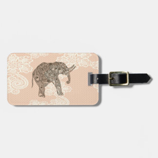 elegant trendy girly cute elephant lace luggage tag