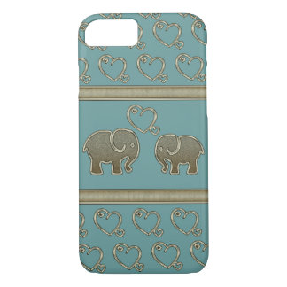 elegant trendy girly cute elephants in love iPhone 7 case