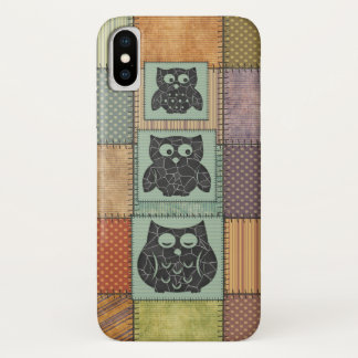 Elegant trendy girly cute owls patchwork iPhone x case