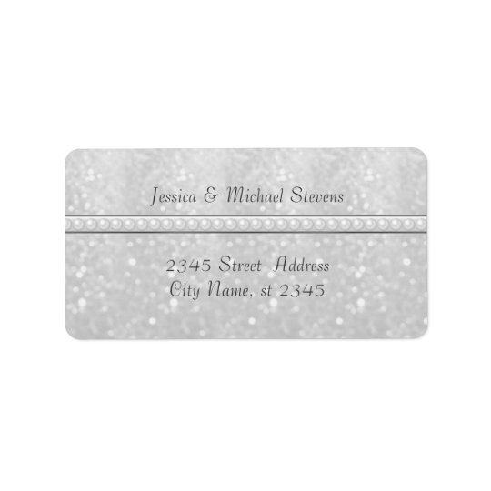 Elegant trendy glittery romantic pearls  wedding label