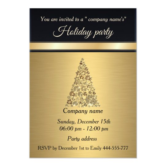 Elegant trendy gold black holiday party corporate card
